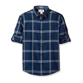 Sleeve Linen Blend Caro Pane Shirt